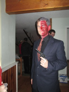 The reward for reading my material for week = Me dressed up as Two-Face for Halloween